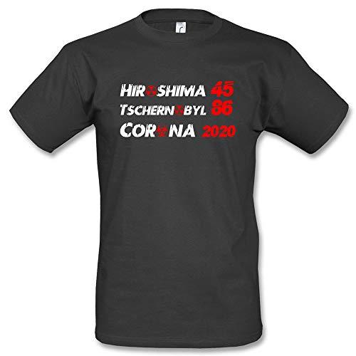 Hiroshima Tschernobyl Corona 2020 Fun T-Shirt (Schwarz, 3XL)