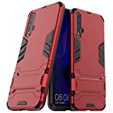 MaiJin Case for Huawei Nova 5 / Nova5 Pro (6.39 inch) 2 in 1 Shockproof with Kickstand Feature Hybrid Dual Layer Armor Defender Protective Cover (Red)