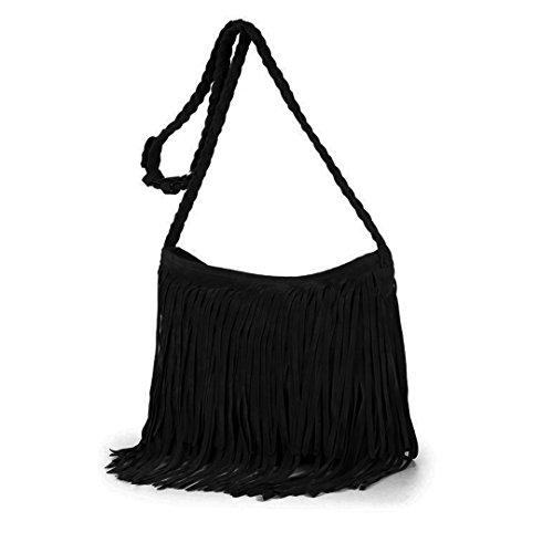 Heidi Hobo Hippie Fringe Tassel Faux Suede Shoulder Messenger Cross Body Womens Sling Bag (black)