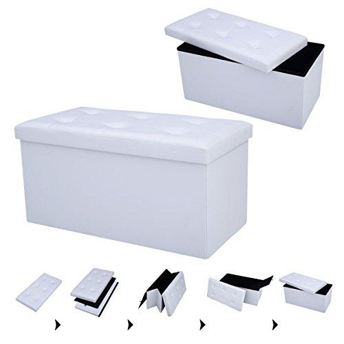 COSTWAY Sitzbank Sitzhocker Sitzbox Aufbewahrungsbox, Sitzwürfel Hocker, Polsterhocker faltbar, Truhe Bank, Sitztruhe PVC-Leder 76 x 38 x 38cm, Sitzkasten Farbwahl (Weiß)