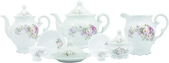 Serviço de chá café 53 peças em porcelana. Modelo redondo com relevo pomerode. Decoração eterna. Fabricado pela schmidt.