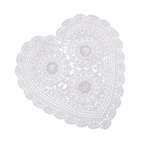 IPOTCH Centrotavola di Pizzo Bianco in Cotone Crochet A Forma di Cuore Centrino Tovagliette Centrino 36cm