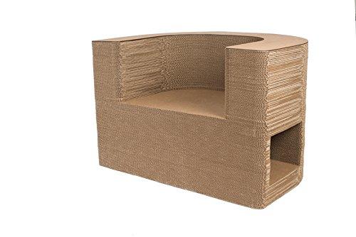 Sillón SEKKEI Sustainable Design de cartón, mod. London, acabado en madera de abedul natural satinado