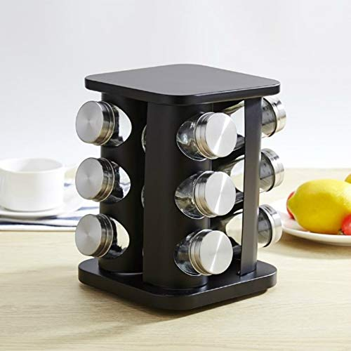 SY12 in 1 Edelstahl-Kanister Set mit drehbarem Halter (Silber) QiuGe (Color : Black)