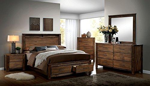 Esofastore ELKTON Collection Modern California King Size Bed w Storage Platform Bedframe Antique Handle Pull Dresser Mirror Nightstand 4pc Set Oak Finish Bedroom Furniture.