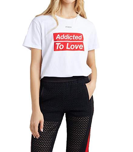 Pinko SPONTANEO T-Shirt Jersey di Cotone (Bianco Giglio Z10), Small (Taglia Produttore:S) Donna