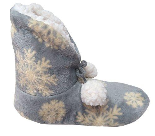 Taubert Damen Hausschuhe Hausstiefel gefüttert blau mit Schneeflocken und Bommel ABS Gr.36/37
