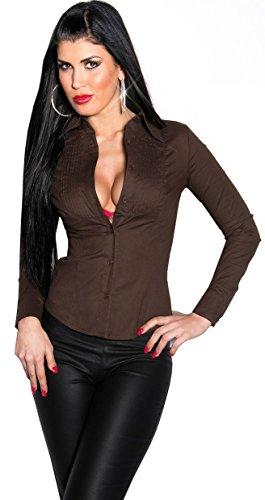 KouCla - Youngfashion24 Sexy Freizeit Bluse - eng tailliertes Hemd (Gr. S - XXL) 8 Farben (L, Braun)