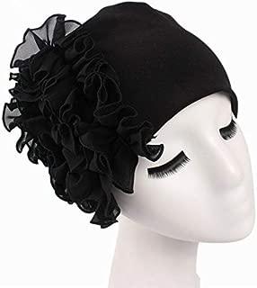 MOPOLIS Flower Women Chemo Beanie Hat Turban Cap for Cancer Chiffon Hair Band Headwear | Colors - Black
