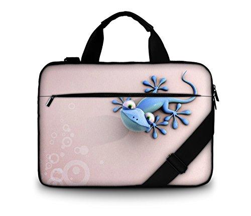 Luxburg® Design gepolsterte Business- / Laptoptasche Notebooktasche bis 15,6 Zoll mit Schultergurt, Mehrzwecktasche, Motiv: Gecko