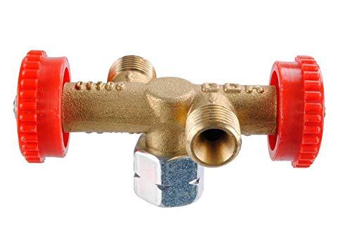GOK - Válvula de derivación de 2 salidas, PS 4 bar, color rojo
