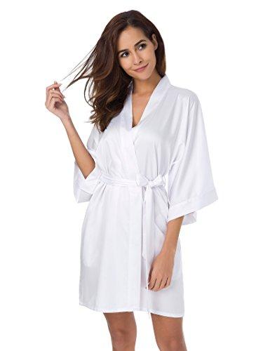 SIORO Damen Bademantel Morgenmantel Satin Kimono Negligee Nachthemd Nachtwäsche kurz Seidenrobe Hochzeitsfeier Weiß M