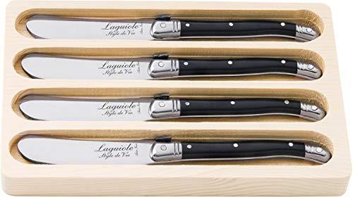 Laguiole Style de Vie Buttermesser Premium Line, 4-teilig, Schwarz
