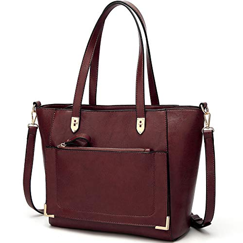YNIQUE Women Top Handle Handbags Satchel Purse Tote Bag Shoulder Bag, Burgundy, Medium
