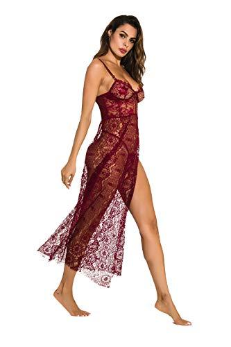 Shangrui Pijama de Mujer Vestido Medio Vestido Transparente con Tirantes Halter Sexy
