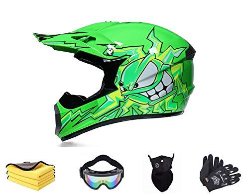 Casco da motocross per bambini, con visiera, maschera con guanti, casco integrale per motocross, MTB, per ATV, downhill, protezione di sicurezza (M)