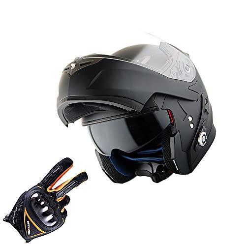Martian Motorcycle Bluetooth Helmet Modular Full Face Flip up Dual Visor Bluetooth Headset: HM-BH1 + Premium Leather Gloves