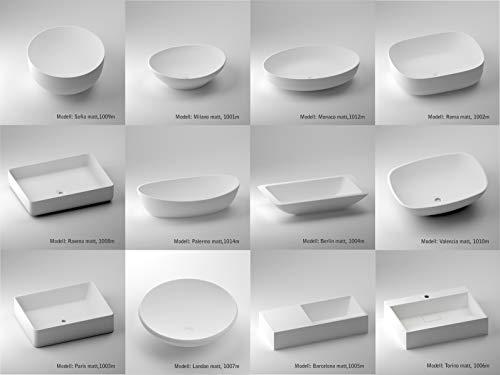 Luxuriöse Aufsatzwaschbecken | Waschbecken | Waschschale | Mineralguss/Gussmarmor/NORWAYstone | Matt Weiß | Klein | Eckig | Oval | Rund (Musterplatte: 5x5 mm)