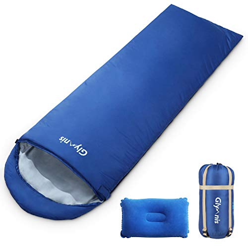Glymnis Saco de Dormir Ultraligero con Capucha Saco de Dormir Rectangular con Almohada Inflable y Bolsa de Compresión Saco de Dormir Verano para Viaje Camping Senderismo 220x75 cm Azul