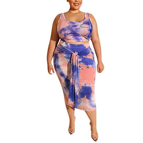 Sllowwa Damen Mode 2 Stück Set Outfits Midi Kleid ärmellose Print Tank Crop Top Röcke Set Übergröße XL-4XL