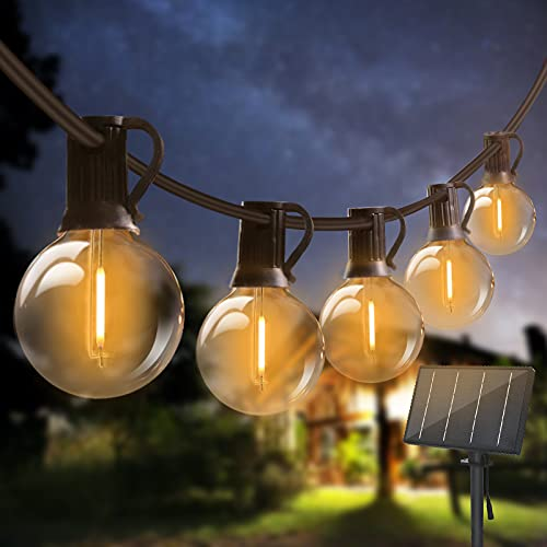 24M Guirnaldas Luces Exterior Solar, Bomcosy Guirnaldas Luminosas 40+2 G40 Bombillas, 4 Modos Luz, IP45 Impermeable, Luces Decorativas Ideal para Jardín, Terraza, Patio, Exterior, Navidad