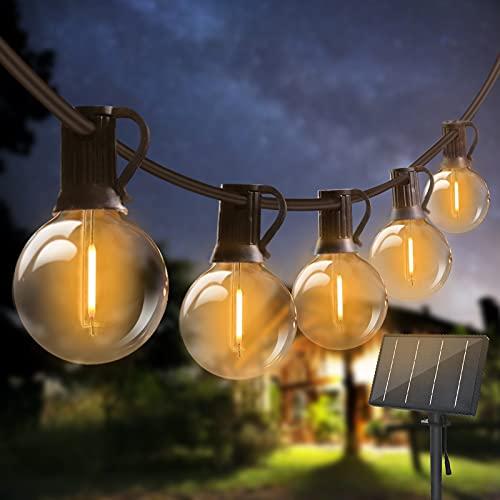 24M Guirnaldas Luces Exterior Solar, Bomcosy Guirnaldas Luminosas 40+2 G40 Bombillas, 4 Modos Luz, IP45 Impermeable, Luces Decorativas Ideal para...