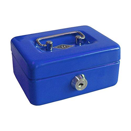 Wedo 144003 Kindergeldkassette Spardose (mit Einwurfschlitz, 5-Fächer-Münzeinsatz, Sicherheitsschloss, aus Stahlblech, 2 Schlüssel) blau