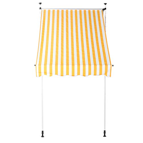 GOTOTOP 2.0x1.2M Manual Awning - Retractable Awning Garden Balcony Window Door Awnings Canopy Gazebo Complete with Fittings for Courtyard(Yellow and White)