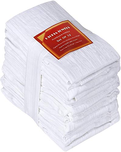 Utopia Kitchen Flour Sack Dish Towels, 12 Pack Cotton Kitchen Towels - 28 x 28 Inches
