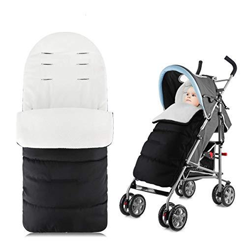 Luchild Kinderwagenfußsack,Winter Fußsack für Kinderwagen,Fleece Fußsack für Buggy Autositz, weicher Deluxe-Thermo-Fleece,Schwarz