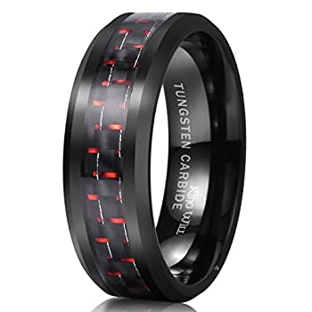 King Will GENTLEMAN 8mm Black and Red Carbon Fiber Inlay Tungsten Carbide Ring Engagement Wedding Band 9