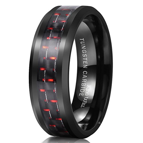 King Will GENTLEMAN 8mm Black and Red Carbon Fiber Inlay Tungsten Carbide Ring Engagement Wedding Band(9.5)
