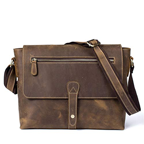 Bolsa Caballero Crossbody Mensajero Casual Trabajo Bolsa de hombro crossbody de los hombres Tablet Tablet Messenger Bag Retro Crazy Horse Cuero Anti-Robo Casual Satchel Viajes Monedero Multifuncional