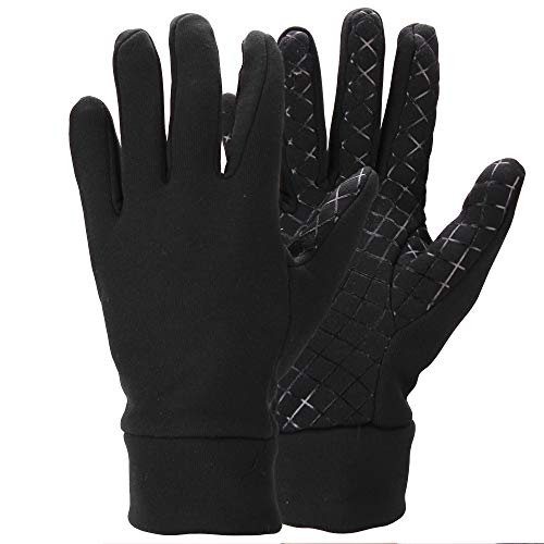 Men's Moisture Wicking Micro-fleece Running Sport Gloves - Color: Black Size: Large