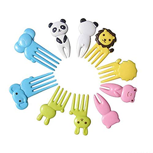 YOSIYO 10pcs Cute Small Cartoon Animal Children Fruit Forks Kids Plastic Bento Home Decor Accessory