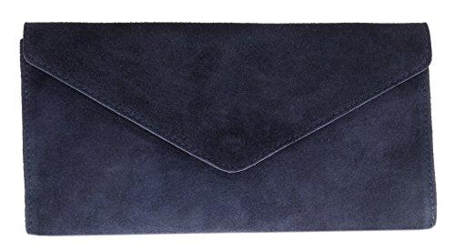 Girly Handbags Mujer Cuero de Gamuza Envelope Clutch Pulsera Piel Auténtica Rígido Bolso bandolera Azul marino