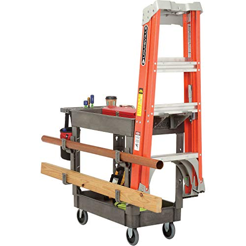Plastic 2 Shelf Service Cart with Ladder Holder and Utility Hooks, 38