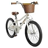 "Retrospec Koda 20""Kids Bike Boys and Girls with Training Wheels, Bell & Basket - Toddler Bikes for Ages 6-8 Years Old - Eggshell"