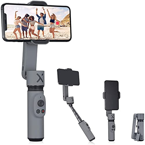 Selfie Stick Smartphone Gimbal Estabilizador de mano ajustable para teléfono Xiaomi Redmi Huawei Samsung Iphone Cámara de acción (combinación blanca)