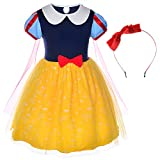 Princess Birthday Party Costume for Toddler Girls with Headband 5-6 Years (5T 6T)