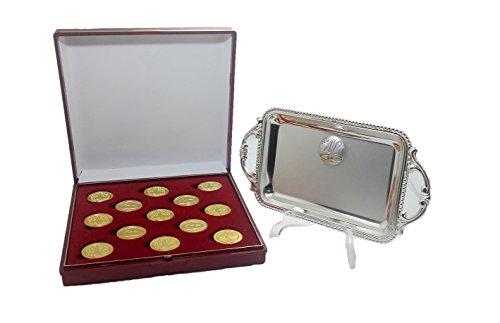 DOCOLASTRA Arras para Bodas de Oro en Color Dorado con Estuche y Bandeja Incluido, Personalizable.