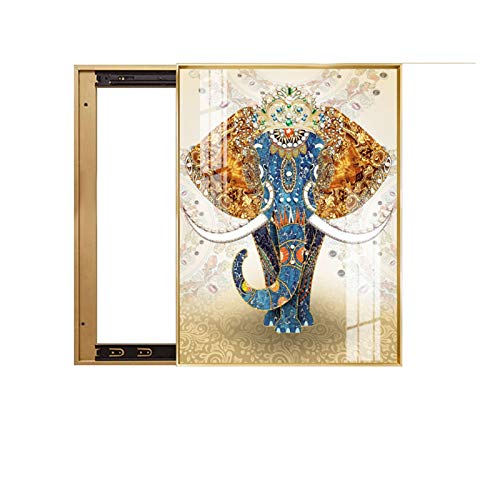 Caja de medidor eléctrico Pinturas decorativas, pinturas colgantes de elefante vertical, pinturas de porcelana de cristal, pinturas de pared para cajas de distribución de blindaje sin interruptores de