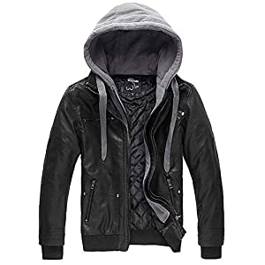 Wantdo Men's Hooded Leather Jacket Casual Motorcycle Coat X-Large Black(Thick)