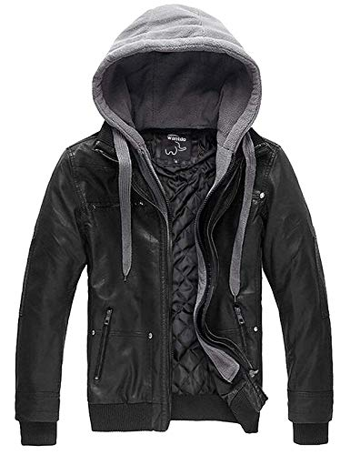 Wantdo Men's Motorcycle Leather Jacket Hooded Bomber Coat Large Black(Heavy)