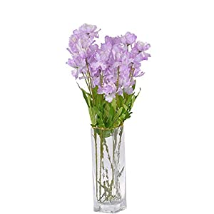"cn-Knight Artificial Azalea Flower 10pcs 23"" Long Stem Faux Rhododendron with 4 Blossoms for Home Decor Centerpiece Housewarming Wedding DIY Bridal Bouquet(Light Purple)"