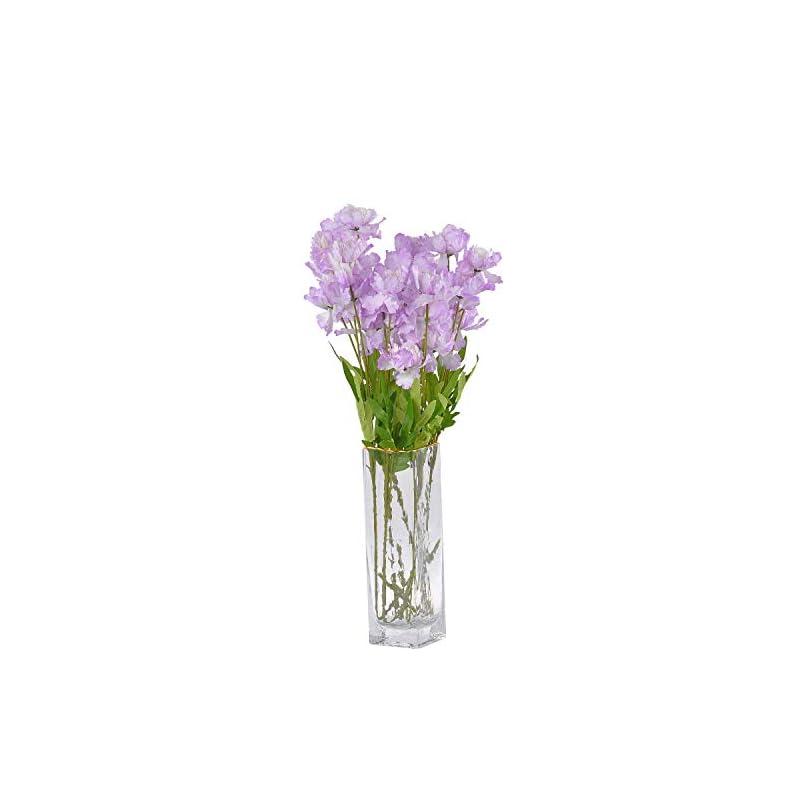 silk flower arrangements cn-knight artificial azalea flower 10pcs 23'' long stem faux rhododendron with 4 blossoms for home decor centerpiece housewarming wedding diy bridal bouquet(light purple)