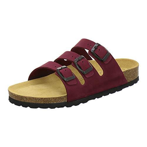 AFS-Schuhe 2133 sportliche Damen Pantoletten aus Leder, praktische Arbeitsschuhe, Bequeme Hausschuhe, Made in Germany (40 EU, Rot/Beere)