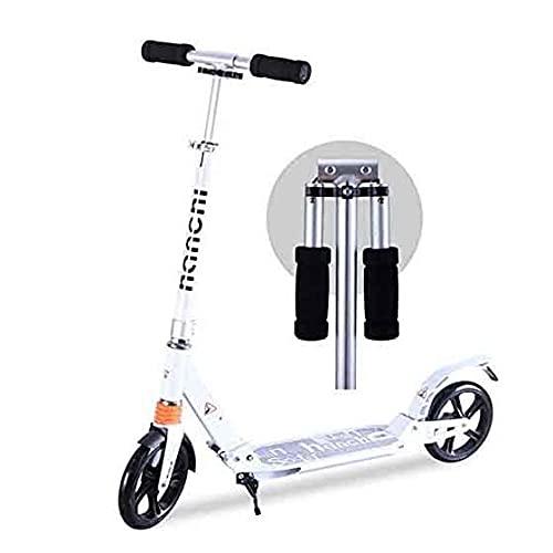 JINPENGRAN Scooter, Adulto/Adolescente/niño Scooter Plegable, Scooter de cercanías portátiles con Mango Plegable, Ruedas Grandes, máximo 100 kg, Freno no eléctrico,Blanco