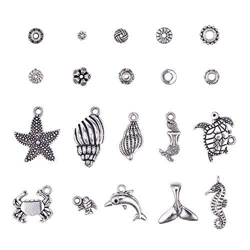 PandaHall 300pcs 10 Stili Distanziatori di Gioielli a Tema Mare Perline con 100 Pezzi di Lega tibetana Starfish Mermaid Pendenti Charms per creazione di Gioielli da Braccialetto, Argento Antico