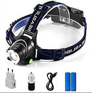 Boruit Lampe Frontale LED Rechargeable Super Puissante Étanche Chargeur USB Torche Portable Zoomable 3000LM 3 Modes IPX4 T6 pour Escalade Camping Pêche de Nuit Vélo Cave VTT Exploitation de Mine